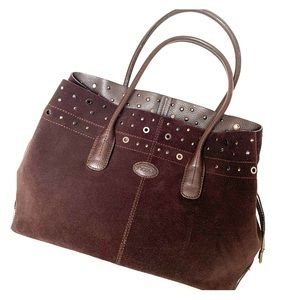 Authentic TODS Brown Suede Leather D-Bag Tote